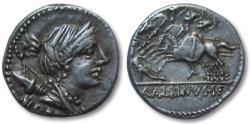 Ancient Coins - AR denarius A. Postumius Albinus Sp. f. et al, Rome 96 B.C. -- Three galloping horsemen --