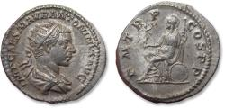 Ancient Coins - AR antoninianus Elagabalus - in near mint state condition w great portrait - Rome mint 218 A.D. - P M TR P COS P P, Roma seated left -