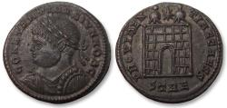 Ancient Coins - AE follis Constantine II as Caesar, Trier / Treveri mint 327-328 A.D. -- STRE, beauty --