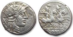 Ancient Coins - AR denarius C. Plutius, Rome 121 B.C.