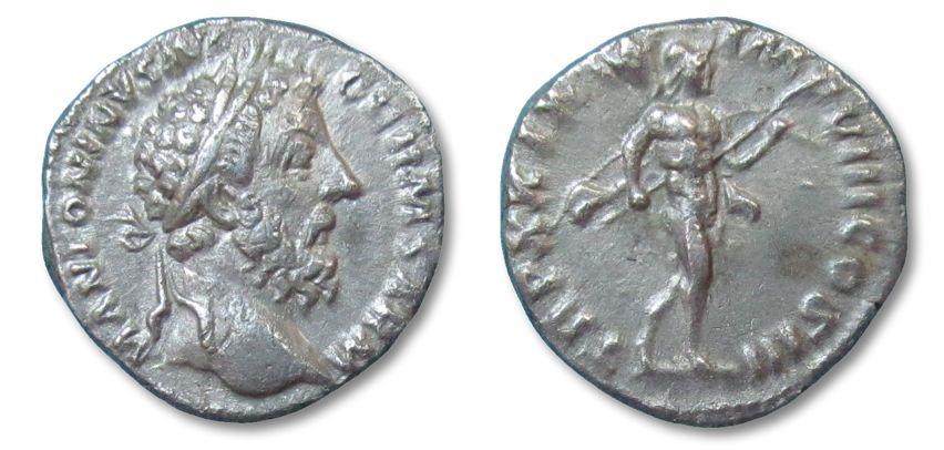 Ancient Coins - MO: AR denarius Marcus Aurelius, Rome 175-176 --MARS--