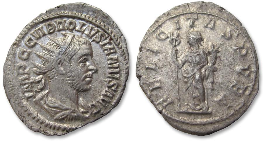 Ancient Coins - AR antoninianus Volusian / Volusianus - sharply struck coin - Rome mint 252 A.D. - FELICITAS PVBL, Felicitas left -