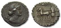 Ancient Coins - AR denarius C. Egnatius Cn. F. Cn. N. Maxsumus, Rome 75 B.C. --scarcer coin, great toning--