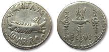 Ancient Coins - AR denarius Marcus Antonius / Marc Antony, LEG VI, Patrae mint 32-31 B.C.