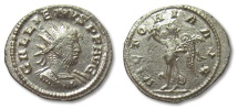 Ancient Coins - AE22 silvered antoninianus Gallienus, Antioch 260-268 A.D. -- fully silvered --