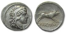 Ancient Coins - AR denarius M. Volteius M.f., Rome 78 B.C. -- Erymanthian boar --