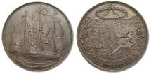 World Coins - 44mm Silver medal 1667: the end of the 2nd Anglo-Dutch naval war, by C. Adolfszoon