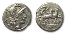 Ancient Coins - AR denarius L. Saufeius, Rome 152 B.C. --in great condition--