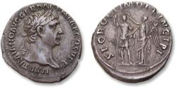 Ancient Coins - AR Denarius, Trajan / Trajanus - high quality coin - Rome 103-111 A.D. - SPQR OPTIMO PRINCIPI, Trajan crowned by Victory -
