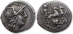 Ancient Coins - AR denarius L. Caecilius Metellus Diadematus, Rome 128 B.C. - impressive elephant head symbol -