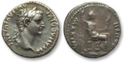 Ancient Coins - AR denarius Tiberius, Lugdunum, 14-37 A.D.