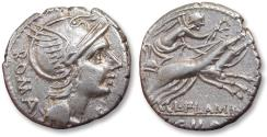Ancient Coins - AR denarius L. Flaminius Chilo. Rome, 109-108 B.C.