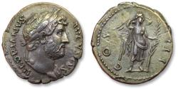 Ancient Coins - AR denarius Hadrian / Hadrianus - beautiful condition - Rome 125-128 A.D. - COS III, half naked Victory reverse -