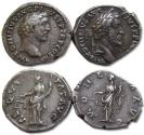 Ancient Coins - Lot of 2x AR denarii Antoninus Pius -- good quality, Aequitas & Moneta reverse --