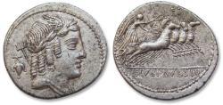 Ancient Coins - AR denarius L. Julius Bursio, Rome 85 BC - beautiful full strike on both sides -