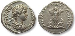 Ancient Coins - AR denarius Caracalla, Rome 201 A.D. -- superb portrait of young Caracalla --