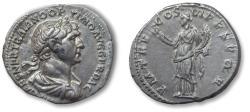 Ancient Coins - AR denarius Trajan / Trajanus, Rome 114-117 A.D. - P M TR P COS VI P P SPQR, Felicitas standing left -