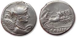 Ancient Coins - AR denarius T. Carisius, Rome 46 B.C. - quite heavy (4,26 gr) and complete for the type -