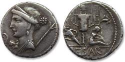 Ancient Coins - AR denarius, C. Julius Caesar. Military mint travelling with Caesar in Spain 46-45 B.C.