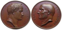 World Coins - Napoleonic Wars: original 40mm Bronze medal, Napoleon and his army at Osterode, Poland, Febr-Apr 1807