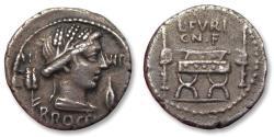 Ancient Coins - AR Denarius, L. Furius Cn. f. Brocchus. Rome 63 B.C.