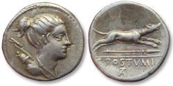 Ancient Coins - AR denarius C. Postumius Tatius, Rome 74 B.C.
