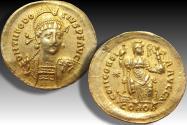 Gold solidus Theodosius II, Constantinople mint AD 409- 420 - beautiful centered & toning