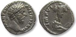 Ancient Coins - AR denarius Marcus Aurelius, Rome 173 A.D. -- Trophy & German captive --