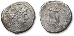 Ancient Coins - AR victoriatus anonymous issue,  Rome 211-206 B.C. - early Roman coin, minted at the same time when the first denarii were introduced -