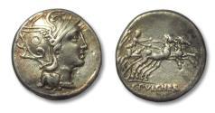Ancient Coins - AR denarius C. Claudius Pulcher, Rome 110-109 B.C.