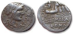 Ancient Coins - AR Denarius, Q. Curtius and M. Silanus, Rome 116-115 B.C.