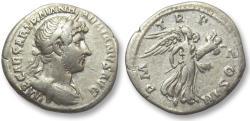 Ancient Coins - AR denarius Hadrian / Hadrianus, Rome 119-125 A.D. -- Victory flying right --