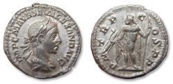Ancient Coins - AR Denarius, Severus Alexander, Rome mint 222 A.D. - P M TR P COS P P, Jupiter left - minted in his 1st year -