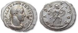 Ancient Coins - AR denarius Severus Alexander, Rome mint 231-235 A.D. - MARS VLTOR, nearly mint state -