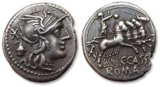Ancient Coins - AR denarius C. Cassius, Rome mint 126 B.C. - sharply struck example, great toning -