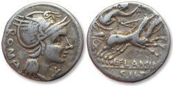 Ancient Coins - AR denarius L. Flaminius Chilo, Rome 109-108 B.C.