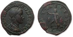 Ancient Coins - AE 34mm sestertius Gordian III,  Rome mint 240 A.D. - PAX AETERNA, great portrait & quality coin -