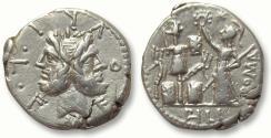 Ancient Coins - AR denarius M. Fourius Philus, Rome 119 B.C.