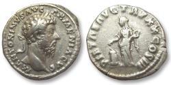 Ancient Coins - AR denarius Marcus Aurelius, Rome 166 A.D. -- Pietas sacrificing --