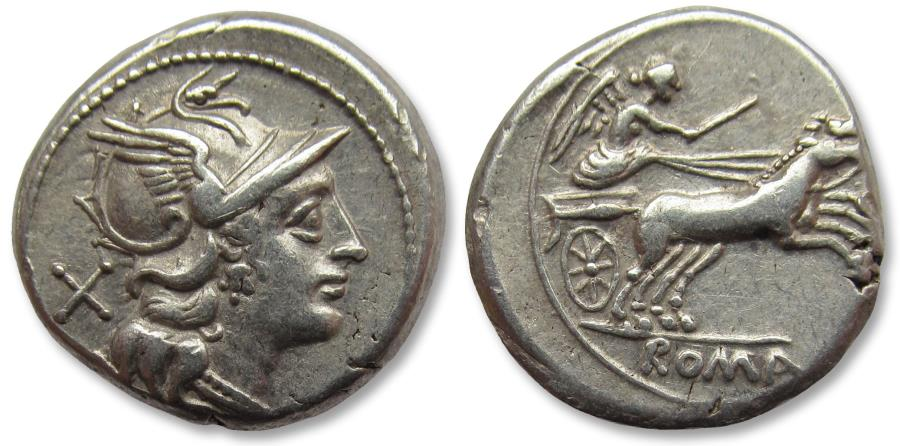 Ancient Coins - Anonymous issues. AR Denarius, Rome 157-156 B.C. - beautiful condition -