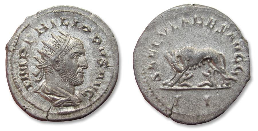 Ancient Coins - AR antoninianus Philip I 'the Arab', Rome mint 248 A.D. - celebrating 1000 years Rome, she-wolf left -
