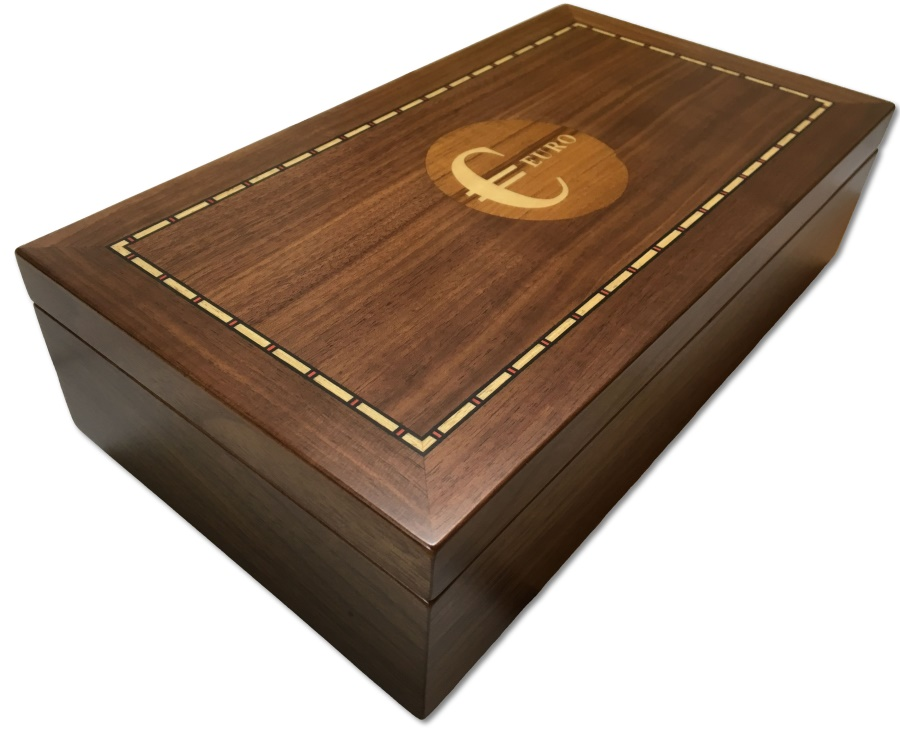 World Coins - Medium sized walnut veneered coin case decorated with EURO sign - holds 150 coins up to 37mm -
