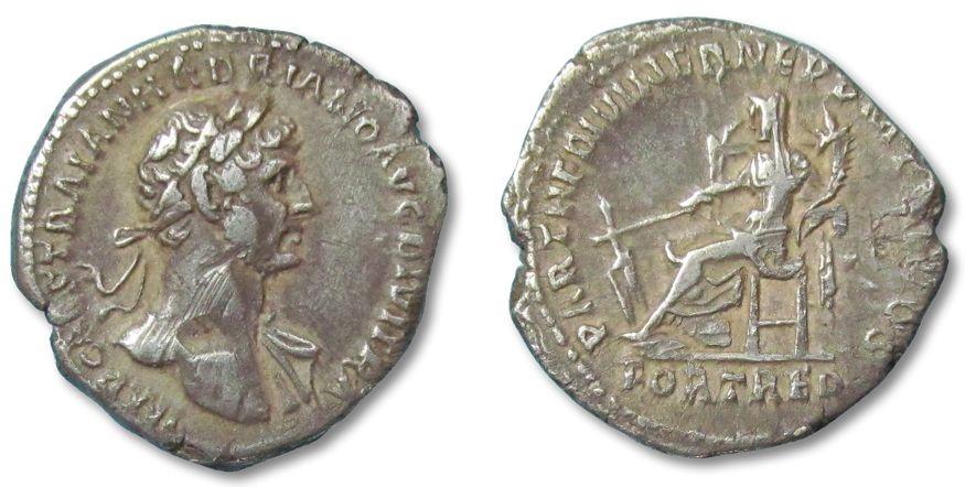 Ancient Coins - MO: AR denarius Hadrianus, Rome 117 A.D. --FORTUNA REDUX--