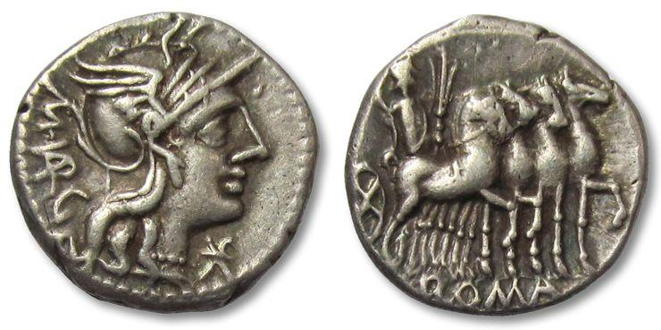 Ancient Coins - AR denarius M. Vargunteius. Rome 130 B.C. - lightly toned -