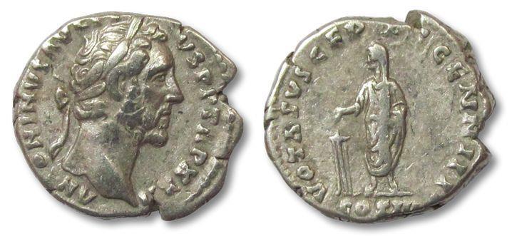 Ancient Coins - AR denarius Antoninus Pius, Rome 157-159 A.D. --VOTA SVSCEPTA--
