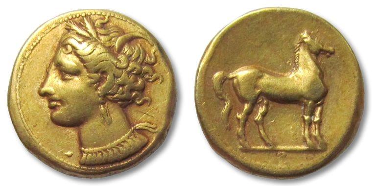 Ancient Coins - EL Stater Carthage, Zeugitana, North Africa, 300 B.C.