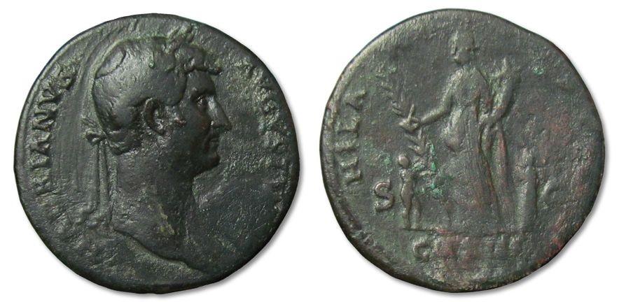Ancient Coins - MO: AE Sestertius Hadrianus, Rome 128-132 A.D. --HILARITAS--