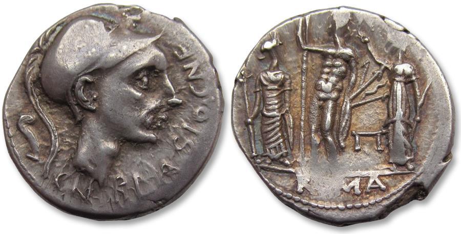 Ancient Coins - AR denarius Cn. Cornelius Blasio Rome 112-111 B.C. - attractively toned -