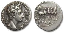 Ancient Coins - AR denarius Augustus, Colonia Patricia 18-16 B.C. -- beautiful portrait of young Augustus --