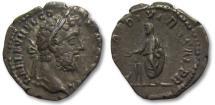 Ancient Coins - AR denarius Commodus, Rome 191 A.D. -- Emperor sacrificing --